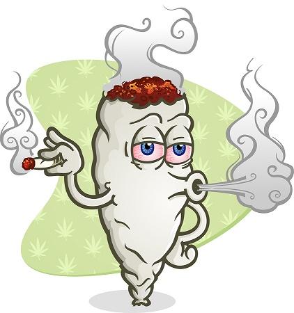 Marijuana Blowing Smoke Cartoon Character